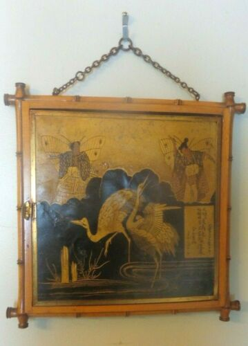 Circa 1875 Miroir Brot Faux Bamboo Chinoisere Tryptic Mirror Aesthetic Movement