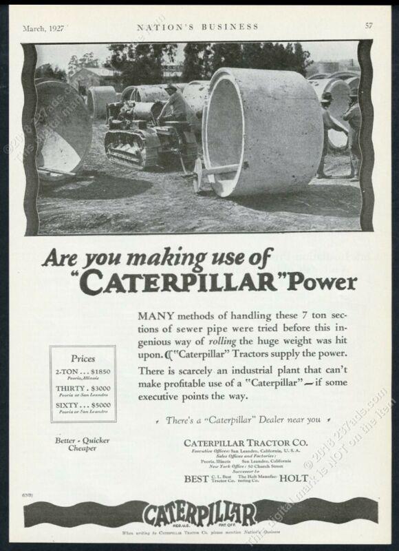 1927 CAT Caterpillar tractor crawler photo Holt vintage print ad