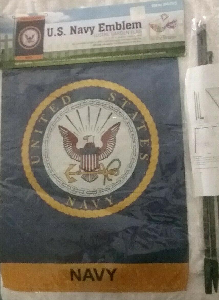 "In the Breeze U.S. Navy Emblem Lustre Garden 12"" x 18"" Flag,"