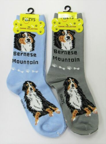 2 Pairs Foozys Bernese Mountain Dog Novelty Socks Womens Crew Socks  NEW