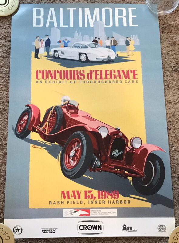 Original 1989 Baltimore Concours d' Elegance Car Show Poster, Dennis Simon Art