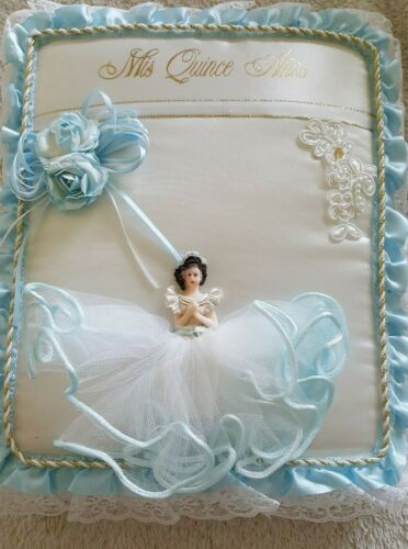 Quinceanera Guest Book Blue/White. Spanish