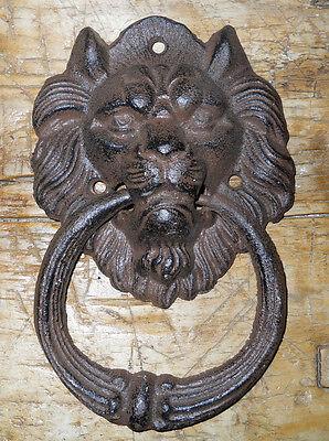 Cast Iron Antique Style Rustic LION HEAD Door Knocker Brown Finish  ()