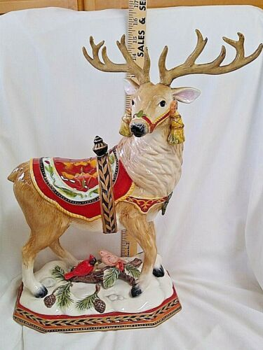 2010 Fitz and Floyd Damask Holiday Christmas Deer Centerpiece Beautiful  29
