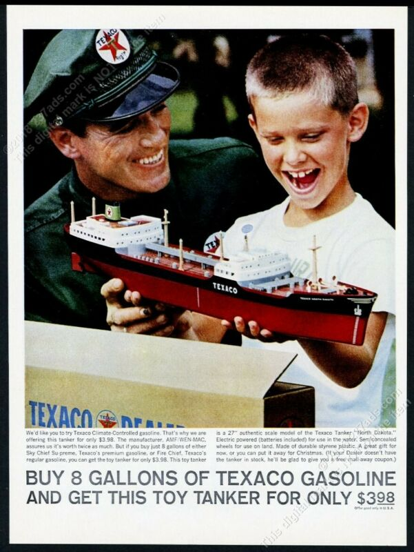 1961 Texaco gas toy oil tanker boat photo vintage print ad