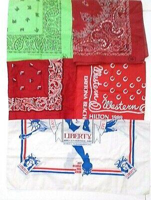 Vtg 5 Bandanas USA MADE WAMCRAFT Fast Color BEST WESTERN '89 STATUE LIBERTY '82