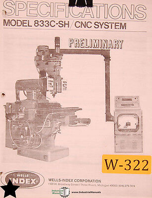 Wells Index 833c-sh Cnc System Milling Operating Instruction Manual