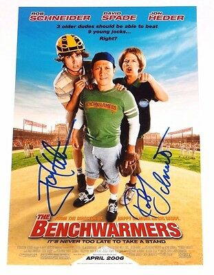 JON HEDER & ROB SCHNEIDER DUAL SIGNED THE BENCHWARMERS 8X12 PHOTO!!!
