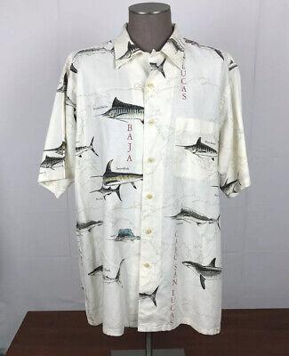 Nautica S/S Button Front Shirt Mens L Fish Graphic tuna/Marlin Linen Blend D1