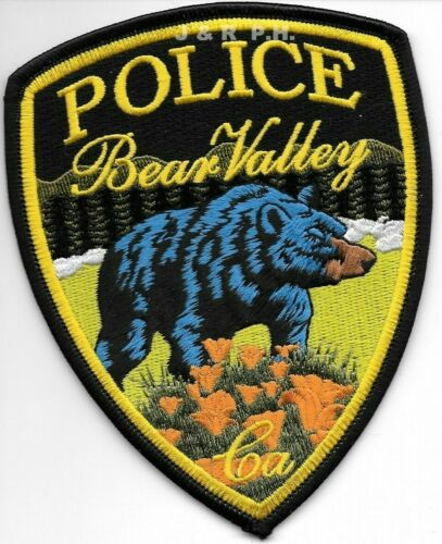 """Bear Valley - 1 Bear, California  (4"""" x 5"""" size)  shoulder police patch (fire)"""