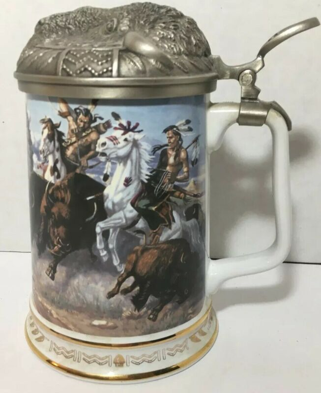 """VINTAGE """"THUNDERING HOOVES"""" WARRIORS OF THE PLAINS TANKARD COLLECTION, BUFFALO"""
