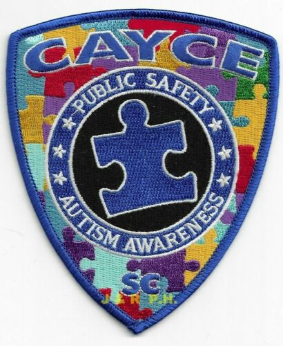 "Cayce Public Safety - AUTISM AWARE, SC (4"" x 4.75"") shoulder police patch (fire)"