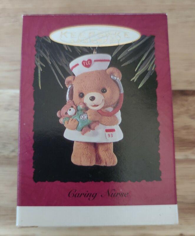 Hallmark Ornament ~ Caring Nurse ~ with Box Teddy Bear Dated 1993 Christmas Tree