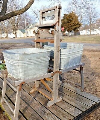 ANTIQUE PRIMITIVE WOODEN DOUBLE STAND WITH WASH TUBS AND WRINGER