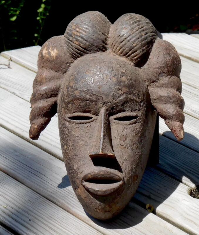 Old Encrusted Ibibio Maiden Spirit Mask, Beautiful Face -- Nigeria
