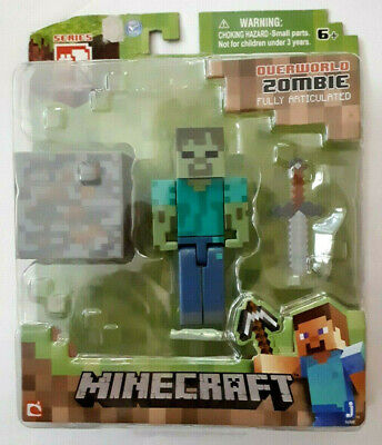 "Minecraft Overworld Zombie 3"" Figure + Accessories Fully Articulated Series 1"