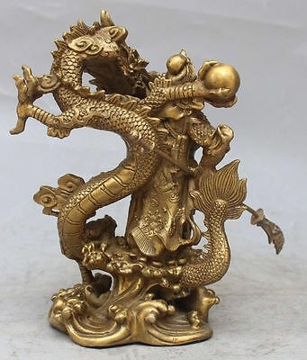 Chinese Fengshui Bronze Guan Gong Yu Warrior God Sword