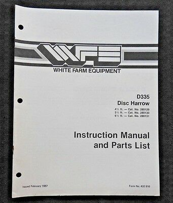 White Field Boss Tractor D335 Disk Harrow Operators Parts Manual