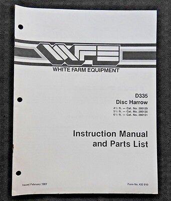 White Field Boss Tractor D335 Disk Harrow Operators Parts Manual