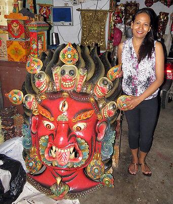 Wood Bhairab Mask: Shiva Bhairava Bhairav Nepal India Hindu Mahakala Nepal