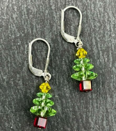 Vintage 925 Sterling Silver Drop Dangle Earrings Glass Christmas Trees