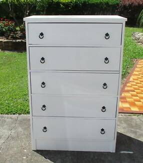 REFURBISHED CHEST OF 5 DRAWERS TALLBOY IN GLOSS WHITE