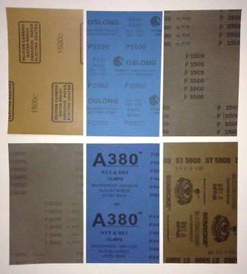 """WET DRY SANDPAPER(5.5""""x9"""") 12pcs - 2Each 1500,2000,2500,3000,4000,5000Grit"""