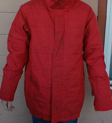 2013 MENS QUIKSILVER TOUCH DOWN 8K INSULATED SNOWBOARD JACKET $230 L red used