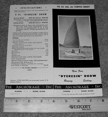 "Vintage ""DYERESIN"" DHOW Sailboat Rowboat Boat Dealer Sales Brochure Specs Prices"