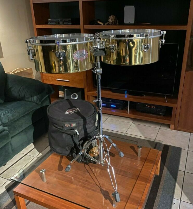 Gon Bops Alex Acuna Signature Timbales 14 & 15 Set, with stand and case