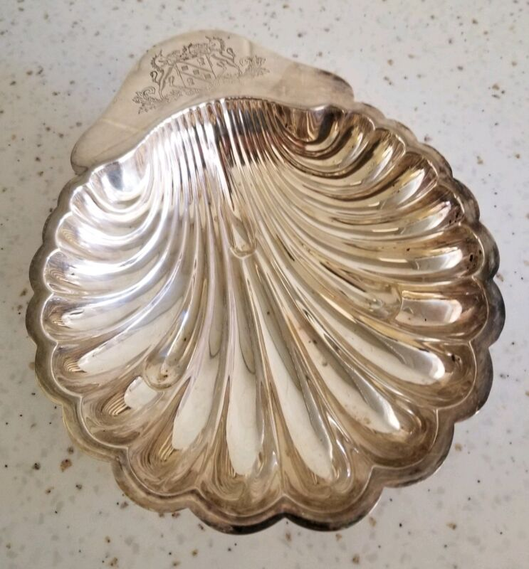 """Vintage Barker Brothers 7"""" Silver Plated Shell Dish C:1910-1925"""