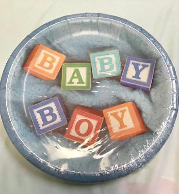 (8 ct Baby Boy Baby Shower Plates Building Blocks  It's A Boy 7-9C)