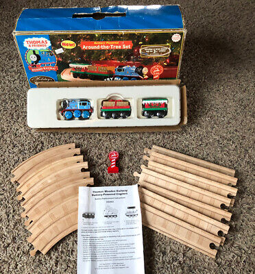 Thomas & Friends Battery Powered Wooden Railway Train Around The Tree Set - Used