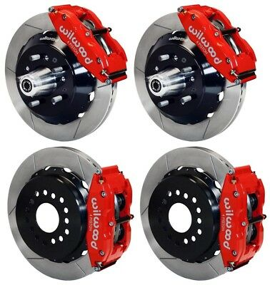 "WILWOOD DISC BRAKE KIT,CDP 62-72 B,70-72 E-BODY W/DRUMS,14""/13"" ROTORS,RED CALIP"