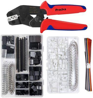 Crimping Tool Kit Preciva Ratcheting Crimper Plier Set With 1550pcs 2.54mm -new