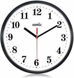 Hippih clock Black Wall Clock Silent Non Ticking Quality Quartz (Red - 4)