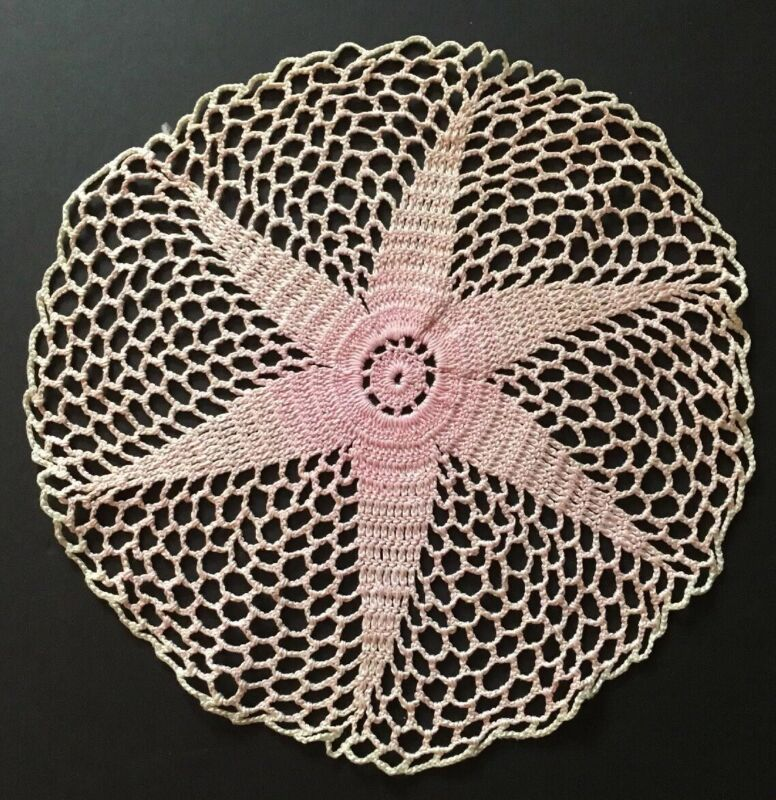 """Antique Lace Handmade Round 11"""" Diameter Table Topper Pink Fade Doily #7"""