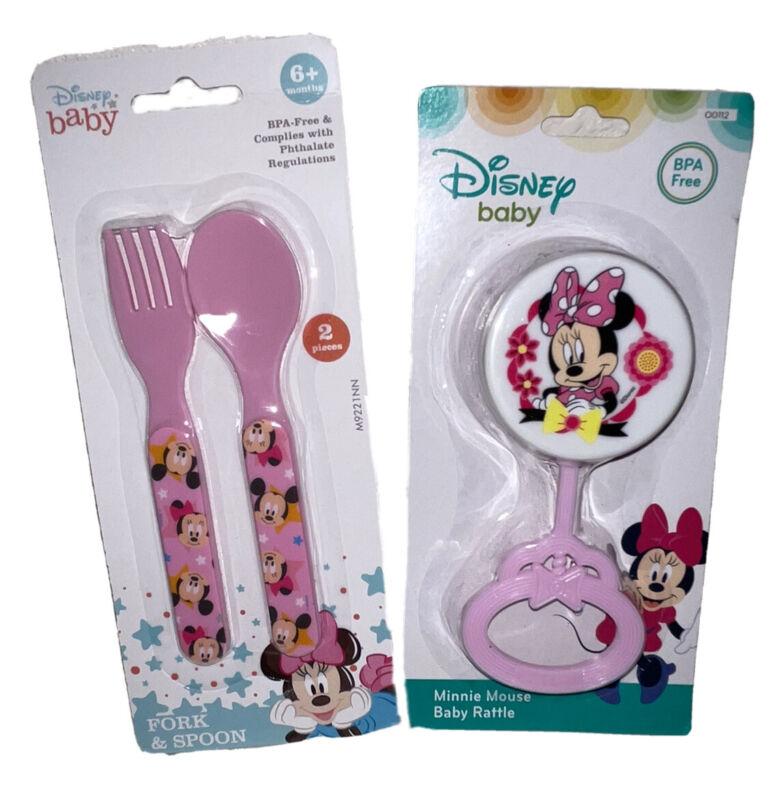 NIB Disney Baby Minnie mouse Fork, Spoon & Rattle 3pc. Set BPA Free Pink