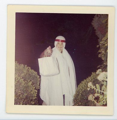 Kid in homemade emirati sheikh Halloween costume Vintage color  snapshot photo - Kid Homemade Halloween Costumes