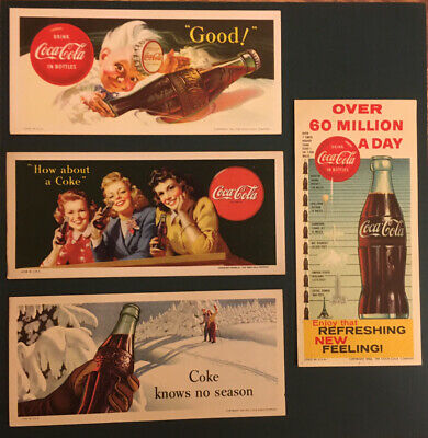 Vintage Coca Cola 4 Blotters Sprite Boy 3 Women Sign Display Cardboard.