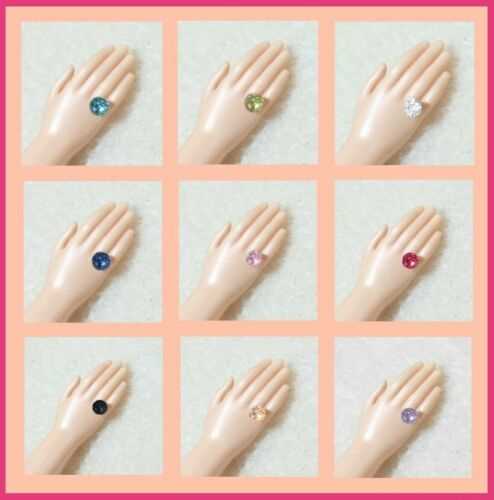 Dreamz Rhinestone RINGS For Hands w/ Large Hole Barbie Doll - 9 RING COLORS!