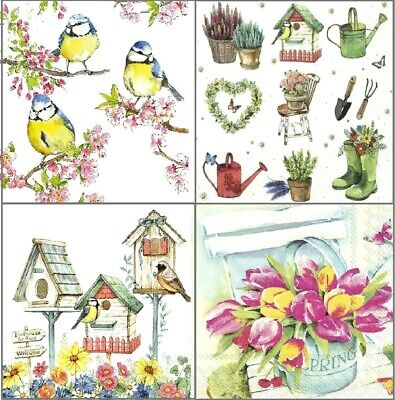 4 Different Vintage Table Paper Napkins for Party Lunch Decoupage Garden , Birds