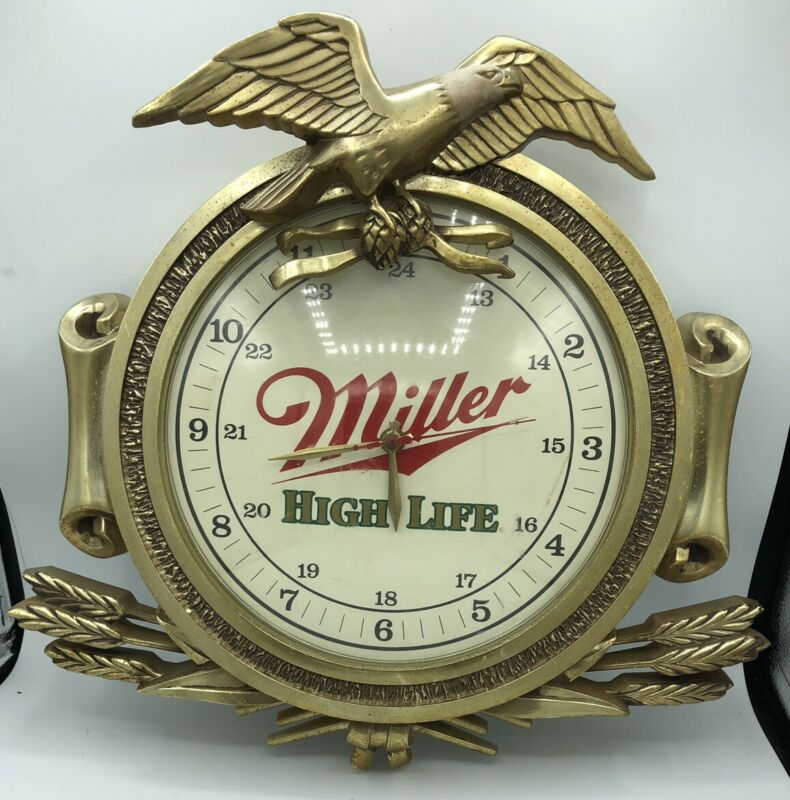 Vintage Miller High Life Battery Clock Beer Sign. Zoizel Military Works!
