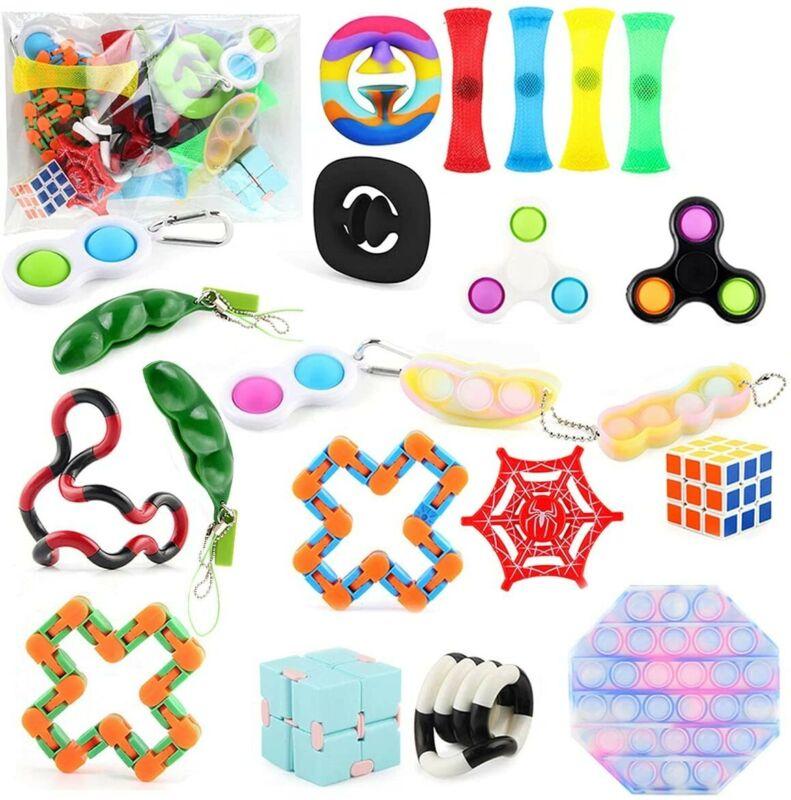 22PC Fidget Toys Set Push It Bubble Pop Sensory Pack Stress Relief, Kids&Adults