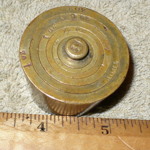 Antique Brass Apothecrary Nesting Weights / COMPLETE 6 pcs. TROY SET