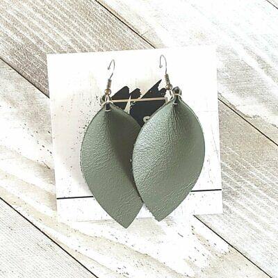 - Olive Green / Genuine Leather Leaf Earrings / Joanna Gaines / Medium /2.5 x 1.25