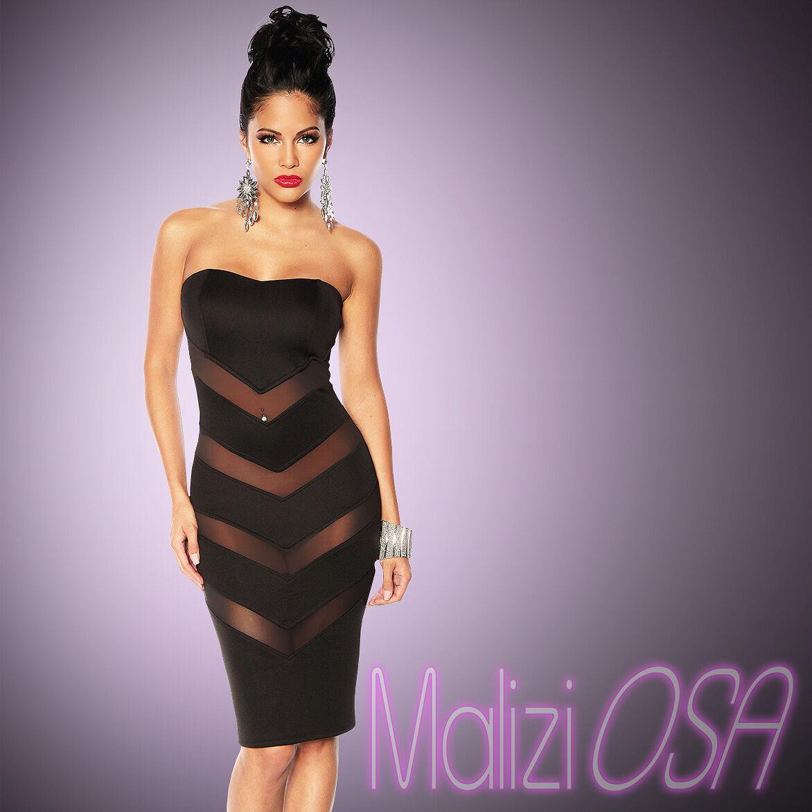 8fd4c750a943 Mini Abito Tubino nero Sexy Vestito DONNA Sera Party trasparenze vestitino  dress