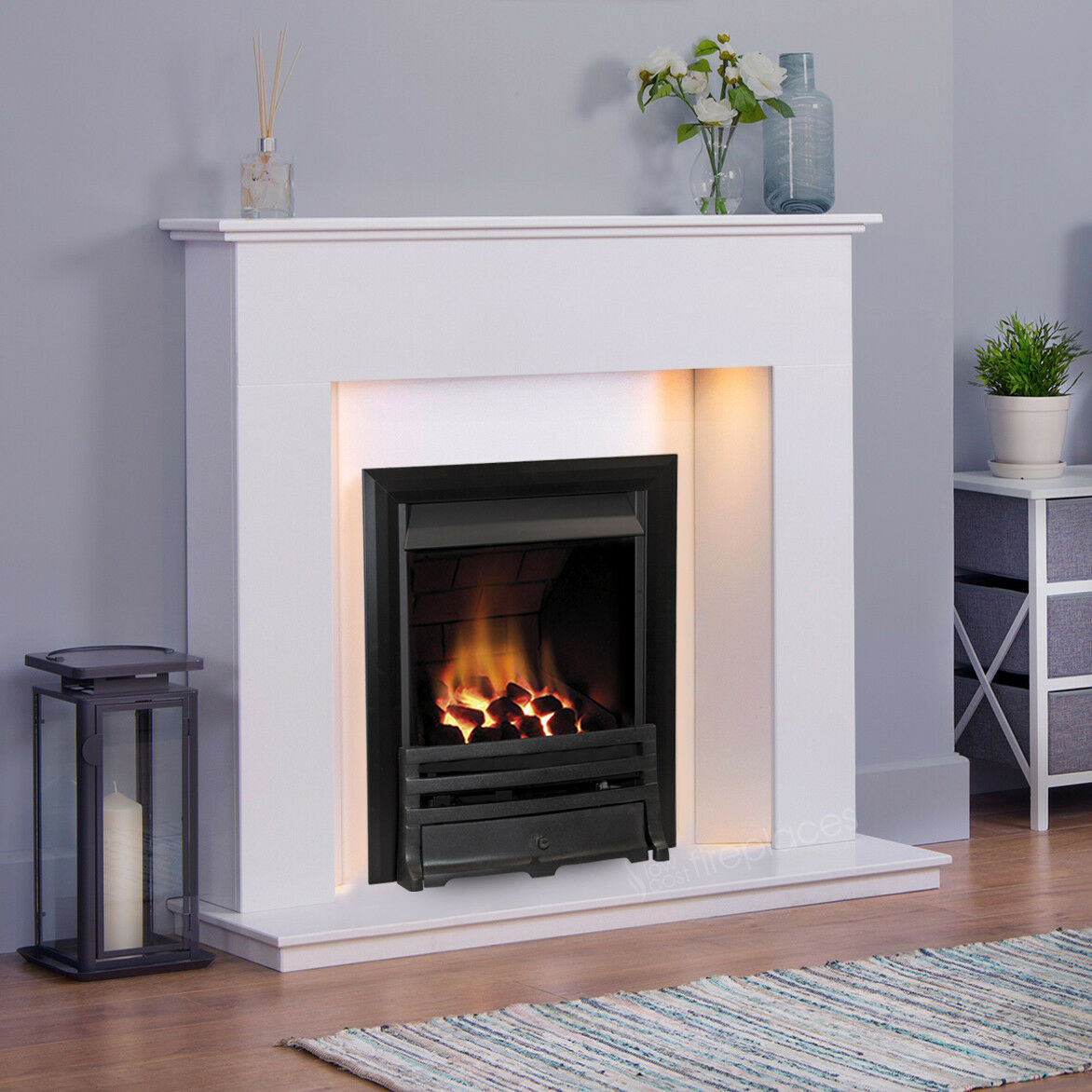 Gas White Marble Stone Wall Angled Surround Lights Black Fire Fireplace Suite Ebay