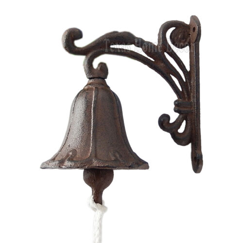 Vine Dinner Bell Cast Iron Wall Mount Antique Style Rustic Finish Scrolls