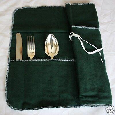 Bestecktasche, Besteckrolle, Wickeltasche für 12 große Teile Silberbesteck